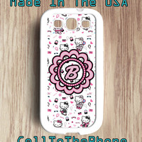 S3 Samsung GALXY 3 Pink Diva HELLO KITTY Persoanlized Monogram Phone Case Samsung Galaxy 3 phone case S3 Phone Case (sg005)