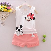 Summer Baby Boy Girl Clothes Set Cartoon Mickey Minnie Mouse Kids Clothes Vest Tops+Shorts 2 PCS Sets Princess Tracksuit Outfits