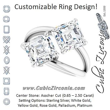Cubic Zirconia Engagement Ring- The Melaine (Customizable Two Stone Double Asscher Cut Design with Split Bypass Band)