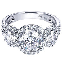 "Gabriel ""Chrysalis"" Three Diamond Halo Diamond Engagement Ring"