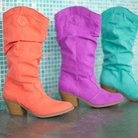 Coral Cowgirl boots - Modern Vintage Boutique
