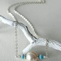 Sterling Silver Chain Necklace, Glass Pearl Necklace, Choker Necklace, White and Turquoise Necklace, Short Chain Necklace, Layering Necklace