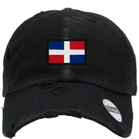dominican flag Embroidered Distressed Baseball hat