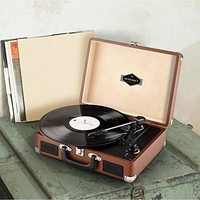auna Peggy Sue • Record Player • Retro Design • Turntable • Phonograph • Belt-Drive • Stereo Speaker • USB-Port • Vinyl LP • Carrying Strap • Digitization • Plug & Play • portable Suitcase • Brown