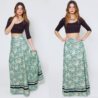 Vintage 70s FLORAL Maxi Skirt Mint GREEN Boho Chic High Waisted PAISLEY Floral Bouquet Hippie Skirt