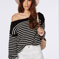 Missguided - Off Shoulder Striped Knitted Sweater Black