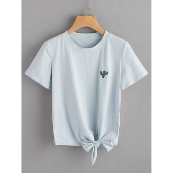 Cactus Embroidered Knot Side Tee BLUE