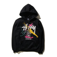 Stussy Printed Round Neck Long-Sleeved Hooded Sweater