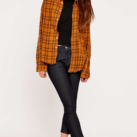 Urban Renewal Vintage Customised Mustard Plaid Flannel Shirt - Urban Outfitters