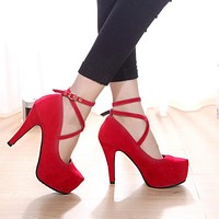 2017 Fashion Women Pumps Sexy High Heels Ladies Wedding Shoes Formal Ankle Strap Women Shoes High Heel Platform Party Shoes O147
