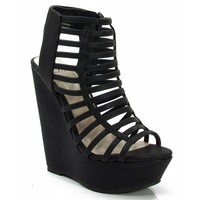 New Delicious Euphony-S Open Toe Strappy Platform Wedge BLACK