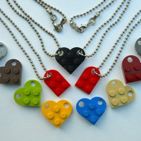 Lego Heart Necklace BFF Friendship Couples - Set includes FREE Lego Heart KEYCHAIN Set - Two Lego Zipper Pull Charms & Gift Pouches