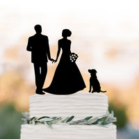 Wedding Cake topper silhouette, family Cake Topper with bride and groom , funny wedding cake topper with dog, anniversary cake topper