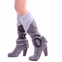 Womens Faux-Suede Leather Knee High Boots = 1946992900