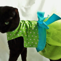 RockinDogs Lime Polkadot Tutu Dress for Cats Easter Wedding