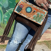 Cactus Painted Tooled Clutch with Fringe & Strap