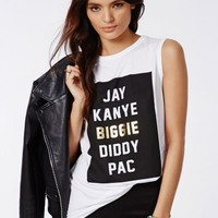Missguided - Slogan Biggie Vest White