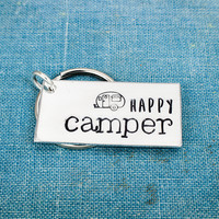 Happy Camper - Camping - Hiking - Aluminum Key Chain
