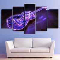 5 piece picture canvas abstract music guitar artwork wall picture panel print