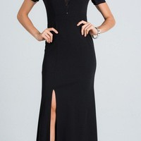 Black Cold Shoulder Long Prom Dress with Lace Inset and Slit