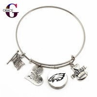 10PCS Philadelphia Eagles Sport Adjustable Expandable Bracelets&bangle With Ginger Round Snaps Buttons Heart Charms Jewelry