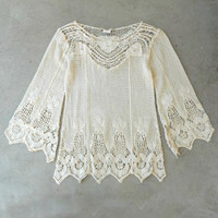 Crochet Boheme Top [5268] - $36.00 : Vintage Inspired Clothing & Affordable Dresses, deloom | Modern. Vintage. Crafted.