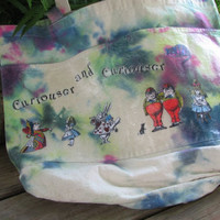 Canvas, decoupage, Alice in Wonderland, tie dyed tote bag