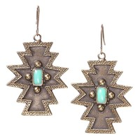 Shop Women's Loulabelle Bronze Aztec Earring with Turquoise Center