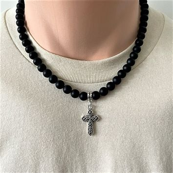 Matte Black Onyx Mens Beaded Necklace with Silver Cross