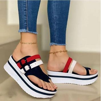 Summer Fashion Women's Wedges Sandals Beach Casual Female Platform Peep Toe Shoes Slingback Lady Mixed Colors Buckle Sandals