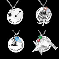 Characters Necklace with quotes Sleeping Beauty Alice Peter Pan Baymax