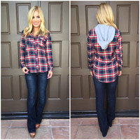 Christmas Blues Plaid Hoodie Top