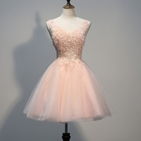 SEXY LACE VEST LONG APRICOT HOMECOMING DRESS