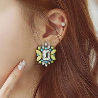 RAVIMOUR Brincos Big Stud Earrings for Women Fashion Jewelry Candy Color Crystal Resin Flower pendientes Mujer Moda Bijoux 2017