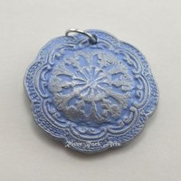 Sky Blue and Silver Vintage-Style Ceramic Pendant