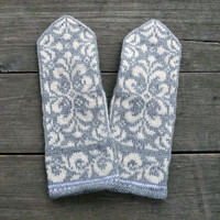 Gray Mittens with Flowers - Baroque Mittens - Hand knit Gloves - Winter Accesories - Gift Ideas - Fashion Mittens - Boho Gloves