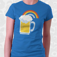 Happiness - Rainbow Beer T-Shirt. 100% Cotton. Mens, womens and kids sizes. This happy drinking shirt comes in royal and brown