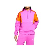 Nike Men's NSW Sportswear Color Block Club Fleece Pullover Hoodie Fuchsia Orange