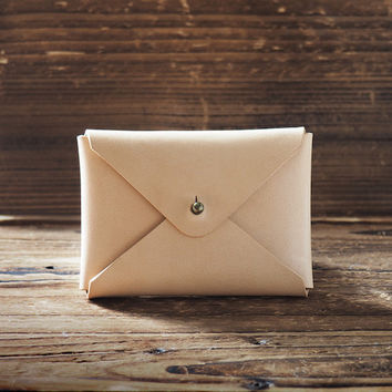 Leather Business Card Holder #Natural Nude