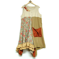 XL Long Layered Lagenlook Boho Chic Dress, Cotton and Linen Sleeveless Upcycled Festival Clothing Eco Friendly by Primitive Fringe