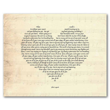 All of me loves all of you You're my end and my beginning - John Legend - Heart Typgoraphy - Inspiration - Sweetheart print anniversary gift