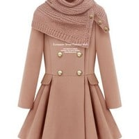 Double-Breasted Coat Pink With Scarf