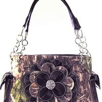 Soft Camo Rhinestone 3D Flower Satchel Purse Chain Handle Shoulder Bag