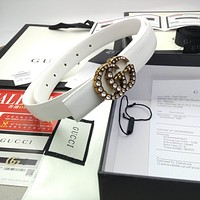Gucci Fashionable and versatile belt soft skin pearl buckle hot selling ladies belt