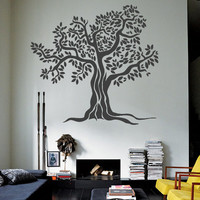 Wall Decor Vinyl Sticker Room Decal Tree Leaf Olive Plant Branch Herb Nature Bio Biology Sheet Leaves Foliage (s143)