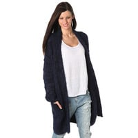 Navy blue supersoft cardigan with fluffy finish