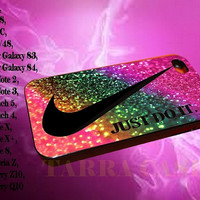 nike just do it rainbow glitter for iphone case, Samsung Galaxy Case, iPod Case, HTC Case, Blackberry Case, Sony Case