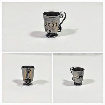 Silver Cup Charm Karlsbad 1903 Sterling Silver Marks Miniature Tankard Trophy Cup Collectible Antique Jewelry Cracker Jack Toy Prize Style