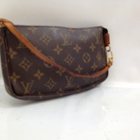 Auth Louis Vuitton Monogram Pochette Accessoires Pouch Bag Brown 8C230540#