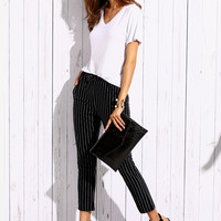 Vertical Striped Elastic Waist Pants -SheIn(Sheinside)